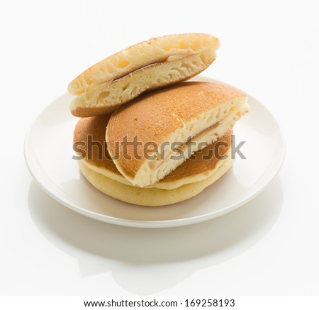 Western-style Dorayaki (Japanese Pancakes) with filling of butter and maple syrup jelly