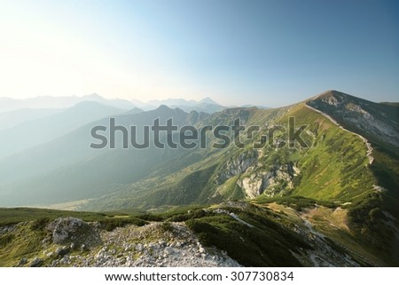 Western Tatra Mountains on a cloudless morning, the Carpathians. - stock photo