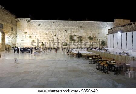 Western Wall at night, Jerusalem - stock photo