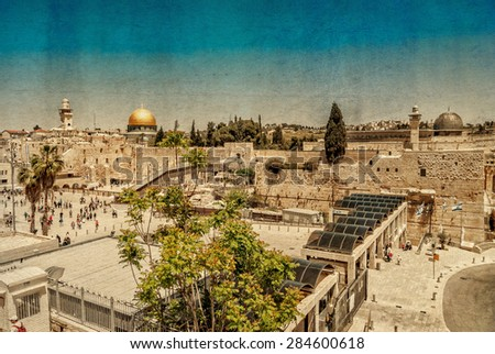 Western Wall,Temple Mount, Jerusalem. Photo  textured in old color image style. - stock photo