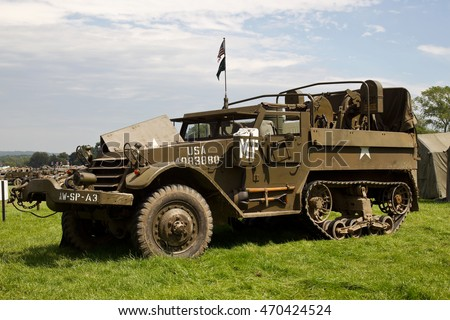 WESTERNHANGER, UK - JULY 20: An ex US army armoured troop carrier half track stands on static display for the public to view at the War & Peace Revival show on July 20, 2016 in Westernhanger