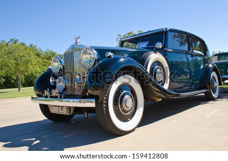 WESTLAKE, TEXAS - OCTOBER 19: A 1937 Rolls Royce Phantom 3 is on display at the 3rd Annual Westlake Classic Car Show on October 19, 2013 in Westlake, Texas. - stock photo