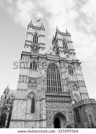 Westminster Abbey church in London, UK in black and white