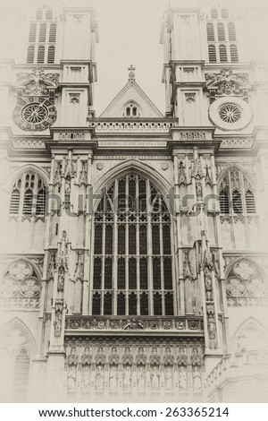 Westminster Abbey (Collegiate Church of St Peter at Westminster) - Gothic church in City of Westminster, London. Westminster is traditional place of coronation for English monarchs. Antique vintage. - stock photo