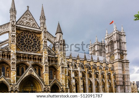 Westminster Abbey (Collegiate Church of St Peter at Westminster) - Gothic church in City of Westminster, London. Westminster is traditional place of coronation for English monarchs.