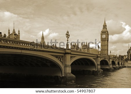 Westminster bridge including big ben - stock photo