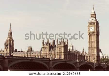 Westminster Bridge with Big Ben in London with a instagram style filter. - stock photo