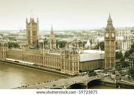 Westminster Bridge with Big Ben, London - stock photo