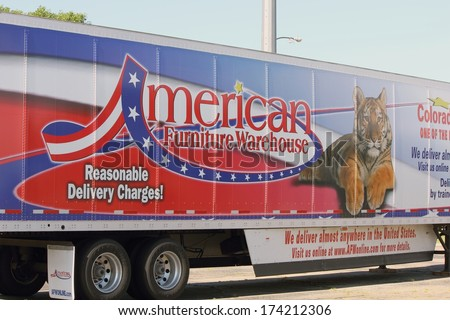 WESTMINSTER,COLORADO/U.S.A. JULY 9, 2011: American Furniture Warehouse  Delivery Semi