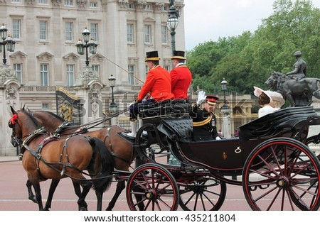 Westminster, London, ENGLAND â?? June 11, 2016: Prince Harry outside Buckingham Palace during the trooping of the colour for Queen Elizabeth's 90th Birthday. - stock photo