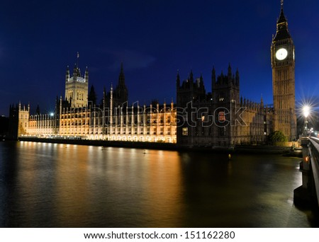 Westminster parliament building and Big Ben, London