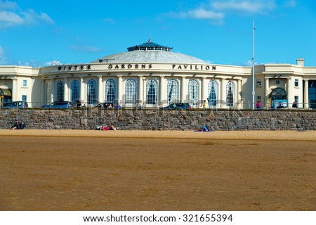 WESTON-SUPER-MARE, SOMERSET-SEPTEMBER 27, 2015: Beautiful summer sunshine and warm weather drew visitors to the beach at Weston-super-Mare, Somerset on the last weekend of September
