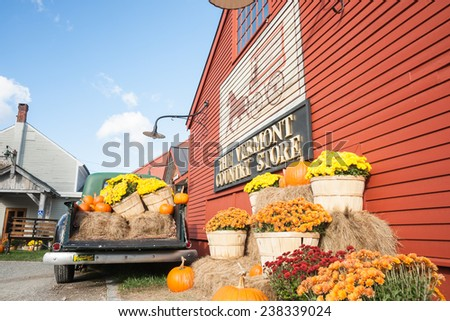 WESTON, VERMONT, USA - OCTOBER 10; the historic Vermont Country Store with produce display outside on October 10,2014 in Weston, USA .The tourist destination store retails range of traditional goods - stock photo