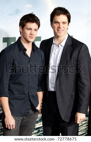 WESTWOOD, CA. - MARCH 8: Steven R. McQueen and Luc Robitaille arrive at Columbia Pictures premiere of Battle: Los Angeles on March 8th 2011 at the Regency Village Theater in Westwood, Ca.