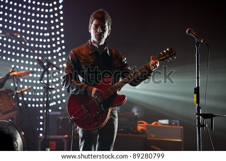 WESTWOOD, CA - NOVEMBER 18: Noel Gallagher performs at UCLA's Royce Hall on November 18, 2011 in Westwood, California. - stock photo