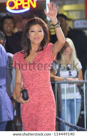 "WESTWOOD CA - OCTOBER 1: Big Brother host Julie Chen waves to fans at ""Seven Psychopaths"" premiere at Bruin Theatre October 1, 2012 Westwood, CA - stock photo"