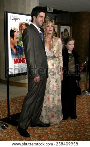 "WESTWOOD. CALIFORNIA. April 29, 2005. Jane Fonda and son Troy Garity attend at the Los Angeles Premiere of ""Monster-In-Law"" at the Mann National Theatre in Westwood, Los Angeles, California.  - stock photo"