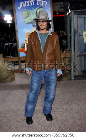 """WESTWOOD, CALIFORNIA - February 14, 2011. Johnny Depp at the Los Angeles premiere of """"Rango"""" held at the Regency Village Theatre, Los Angeles.   - stock photo"""