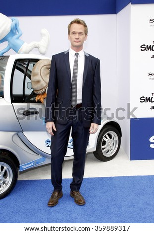 WESTWOOD, CALIFORNIA - July 28, 2013. Neil Patrick Harris at the Los Angeles premiere of 'Smurfs' held at the Regency Village Theater in Westwood, Los Angeles.
