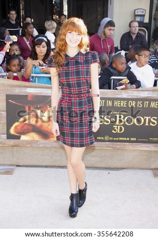 """WESTWOOD, CALIFORNIA - October 23, 2011. Bella Thorne at the Los Angeles premiere of """"Puss in Boots"""" held at the Regency Village Theater, Los Angeles.   - stock photo"""