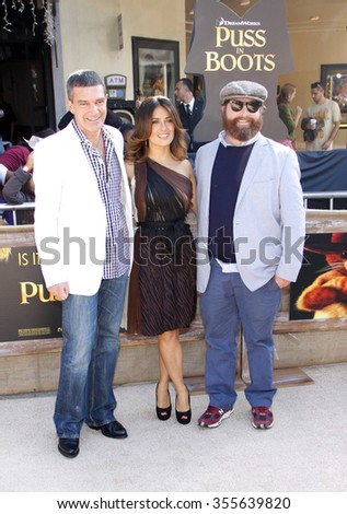 "WESTWOOD, CALIFORNIA - October 23, 2011. Zach Galifianakis, Salma Hayek and Antonio Banderas at the Los Angeles premiere of ""Puss in Boots"" held at the Regency Village Theater, Los Angeles."