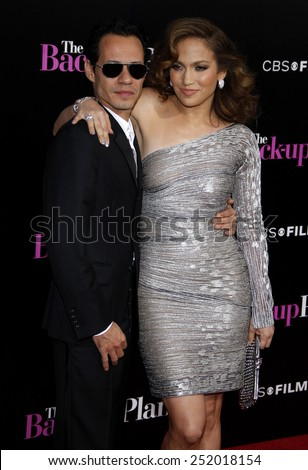 "WESTWOOD, CALIFORNIA - Wednesday April 21, 2010. Jennifer Lopez and Marc Anthony at the Los Angeles premiere of ""The Back-Up Plan"" held at the Westwood Village Theater, Hollywood.  - stock photo"