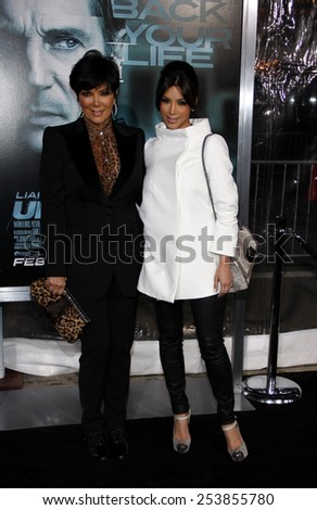 "WESTWOOD, CALIFORNIA - Wednesday February 16, 2011. Kris Jenner and Kim Kardashian at the Los Angeles premiere of ""Unknown"" held at the Regency Village Theatre, Los Angeles.  - stock photo"