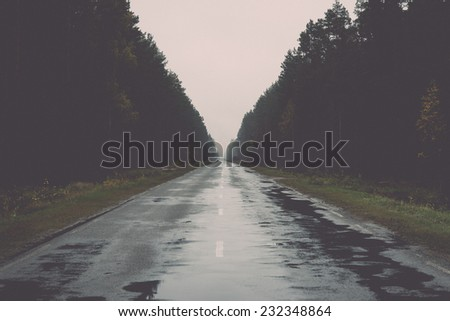 wet asphalt road with sun reflections and trees. Vintage effect. - stock photo