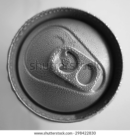 wet can with drink, close-up of top - stock photo