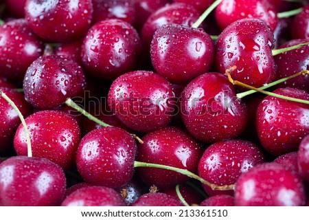 wet cherries background - stock photo