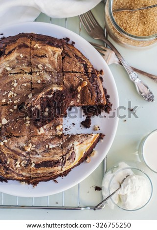 Wet Chocolate Pie Brownie with Cottage cheese and Walnuts with Cream