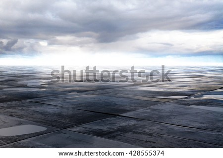 wet concrete floor and cloud on sky, 3D Rendering - stock photo
