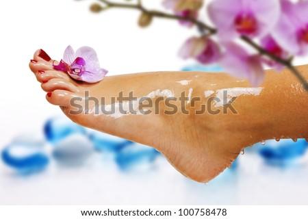 wet feet - stock photo