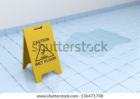Wet floor sign on tiled floor - stock photo