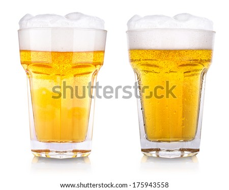 wet fresh beer isolated on a background - stock photo