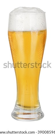 Wet Glass of fresh beer isolated on white background with clipping path