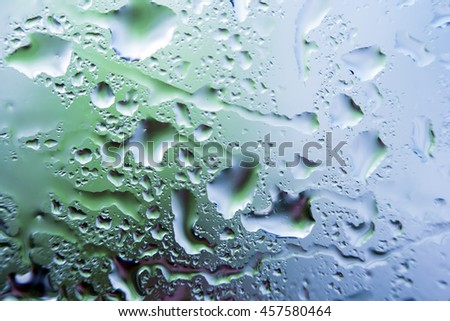 wet glass with drops of water. - stock photo