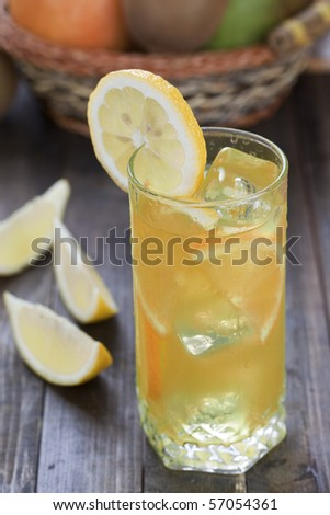 Wet glass with slices of lemon