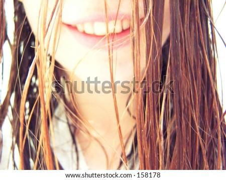 wet hair - stock photo