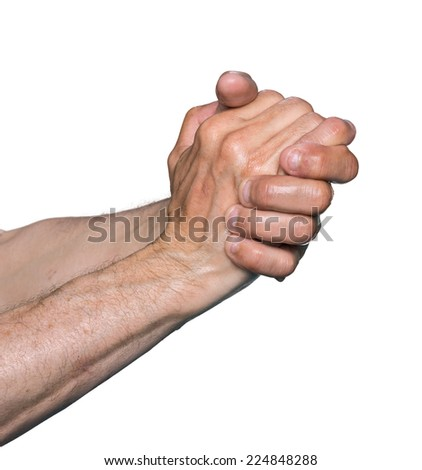 Wet hands of an elderly man isolated on white