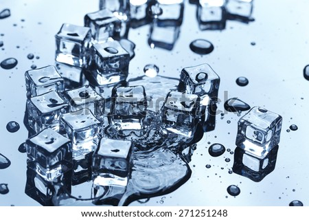 wet ice cubes - stock photo