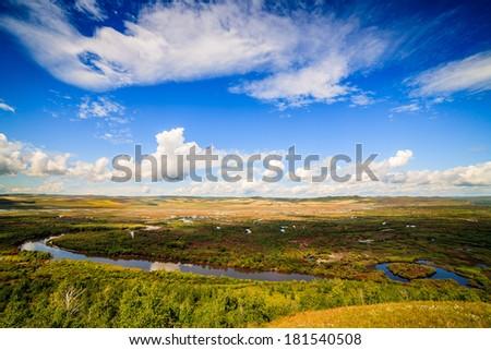 Wet land in hulunbuir - stock photo