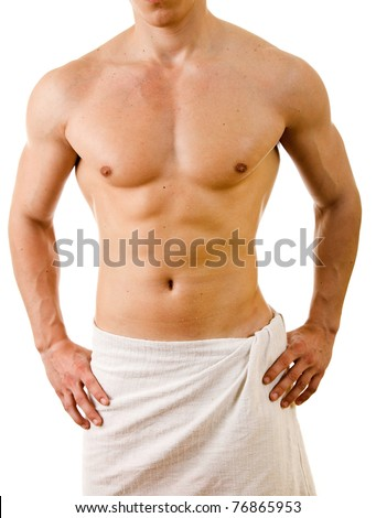 Wet muscular sexy man wrapped in the towel, isolated on white - stock photo
