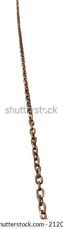 wet old rusty iron chain isolated on white background