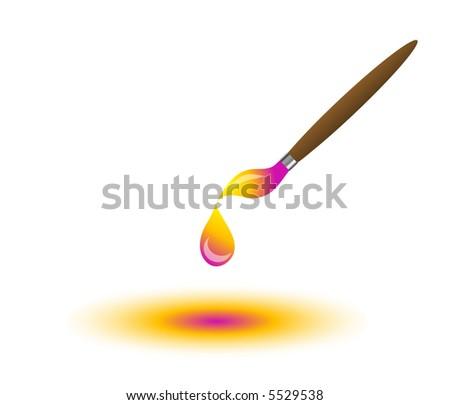 Wet Paint Dripping Off Paint Brush Stock Illustration ...