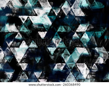 wet paint triangles with sea colors, abstract background wallpaper design, geometric eye illusion, pattern future space shapes and forms textured - stock photo