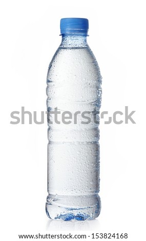 wet plastic water bottle isolated on a white background - stock photo