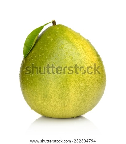 Wet pomelo, chinese grapefruit with leaf and drop waters isolated on white background - stock photo