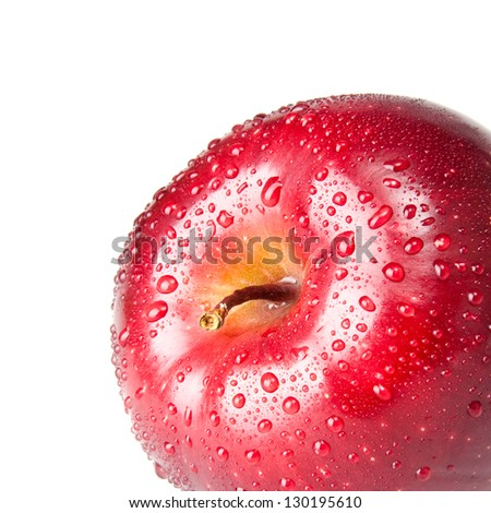 wet red apple isolated on white - stock photo