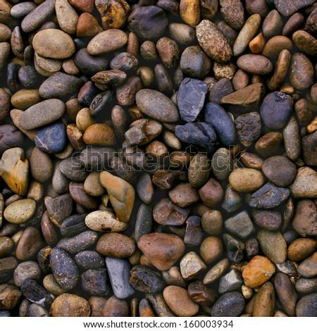 wet river stones background - stock photo